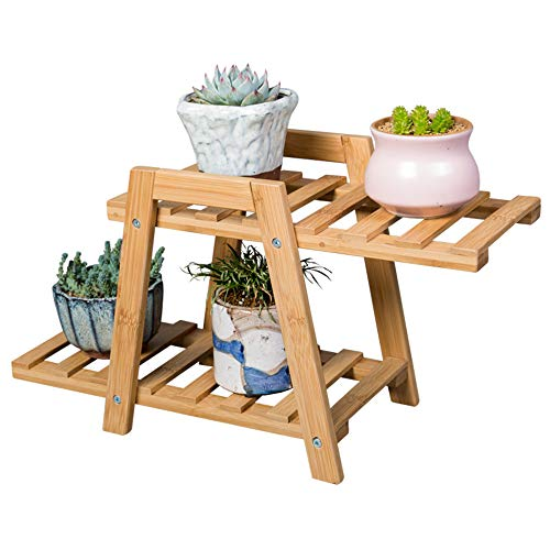 Small Plant Stand - 2 Tier Plant Rack & Shelf Planter for Succulents, Flowers, Rose. Great for Indoor, Outdoor Display on Tabletop, Work & Office Desk, & Desktop. Bamboo