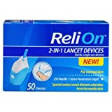 ReliOn - Needle & Lancets for Thin and Delicate Skin – 25 Gauge Needle – Sterile, Single–use Lancet. 1.8mm Penetration Depth. Includes 50 Lancets