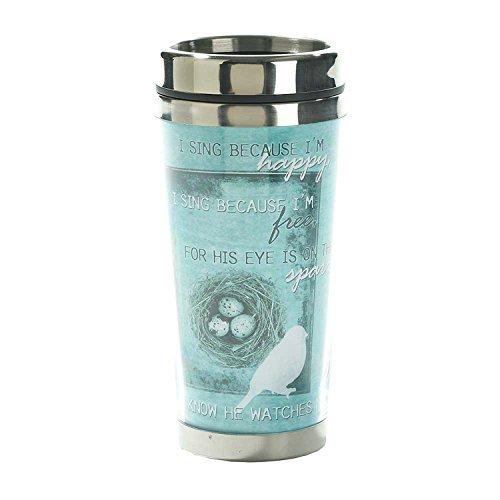 son œil est sur le moineau Turquoise 16 g intérieure en acier inoxydable Café Mug de voyage par Dicksons cadeaux