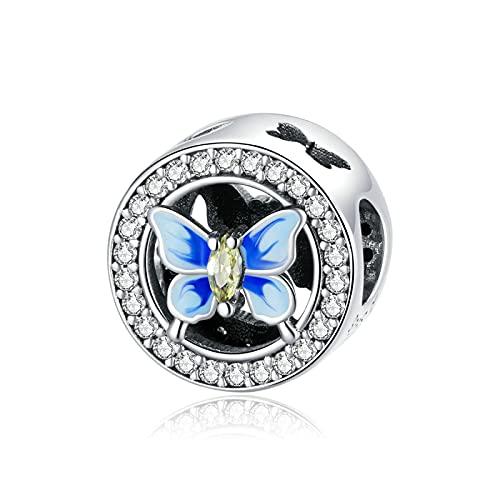 LISHOU Genuino 925 Plata Esterlina Colorida Mariposa Azul Colgante con Cuentas Ajuste Original Pulsera Collar Cuentas DIY Fabricación De Joyas