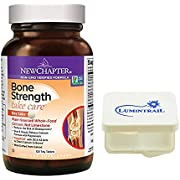 New Chapter Bone Strength Calcium Supplement with Vitamin K2, D3-120 Tiny Tabs Bundle with a Lumintrail Pill Case