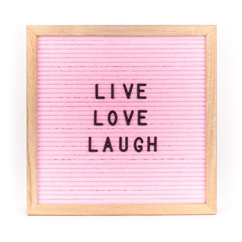 Helio Ferretti, Felter Board, tablero de letras personalizable, pizarra cuadrada pequeña de madera con 298 letras, números y signos intercambiables, modelo rosa con letras negras, 30 x 3 x 30 cm