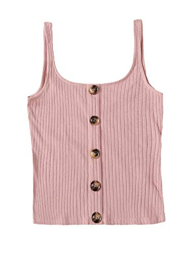 SweatyRocks Women's Sleeveless Vest Button Front Crop Tank Top Ribbed Knit Belly Shirt Pink-1 S