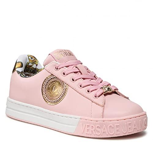 VERSACE JEANS COUTURE Zapatillas deportivas de mujer 71VA3SK6 de piel color rosa con logotipo dorado, Rosa, 38 EU