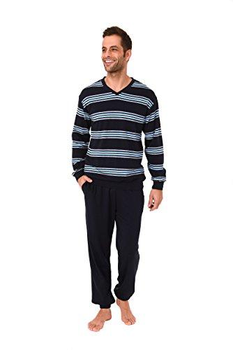 Lässiger Herren Pyjama Schlafanzug Langarm - auch in Übergrössen bis Gr. 70-101 96 775, Farbe:blau;Größe:62
