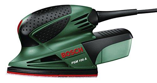 Bosch PSM 100 A - Multilijadora, 3 hojas de lija K 80/ K 120/ K 160, maletín (100 W, nº de carreras en vacío: 26.000 opm, Ø circuito oscilante: 1,4 mm)