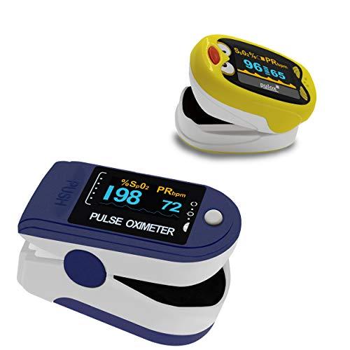 Pulsoximeter Pulox PO-200 Solo Dunkelblau Set mit Kinder Fingerpulsoximeter PO-210B