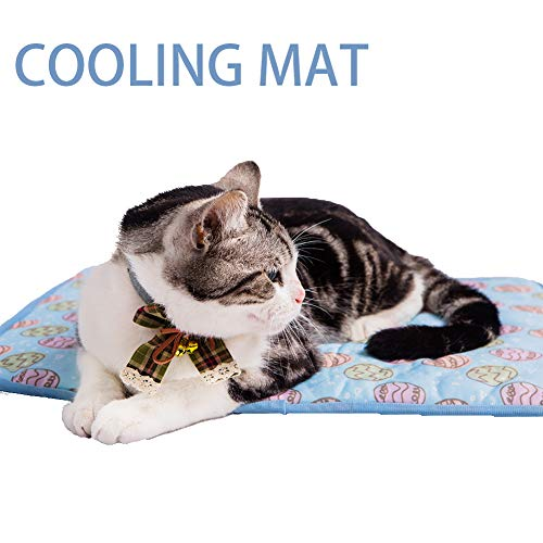 NACOCO Pet Cooling Mat Cat Dog Cushion Pad Summer Cool Down Comfortable Soft for Pets and Adults (M, Blue)