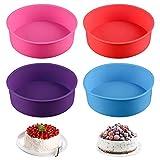 Molde de silicona para hornear de silicona para molde de pastel redondo de 4 piezas para hornear muere 8 '' (azul / rojo / morado / rosa)