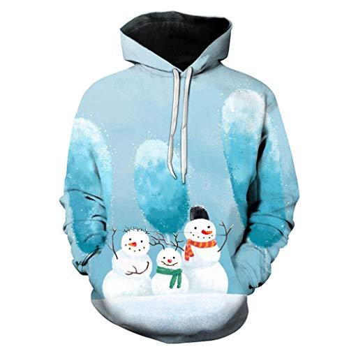 Dasongff Unisex hoodie 3D print hoodie Kerstpullover met capuchon lange mouwen bont sweatshirt ronde hals Xmas sweatshirt capuchon voor dames en heren S-XXXXL Large lichtblauw