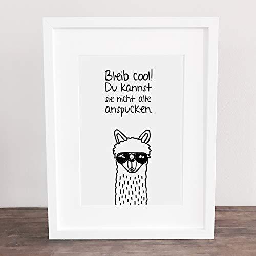 Bild, Deko, Poster, Kunstdruck, Alpaka, Lama, Motivation, Spruch