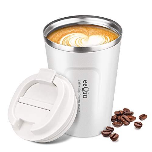 eeQiu Kaffeebecher für unterwegs Coffee to go Thermobecher schwarz 13oz aus Edelstahl mit Doppelwand Isolierung 100% auslaufsicher Thermo für Kaffee oder Tee (Weiß)