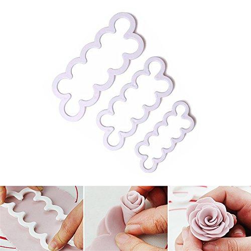 Ausstechform für Rosenblüten, 3D, Werkzeug zur Dekoration für Kuchen, Törtchen, Zuckergussglasuren, 3 Stück