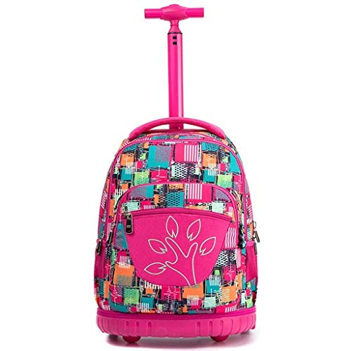 RMXMY Junior High School Pupils Trolley Bag Niños y niñas Rueda Grande Mochila de Viaje de Gran Capacidad Bolsa de Equipaje Deportes Impermeables Bolsa de Carro multifunción portátil (Color : F)