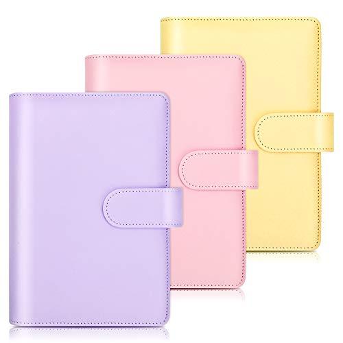 Cuaderno de cuero PU A6, carpeta recargable de 6 anillas, organizador de carpetas de hojas sueltas con hebilla magnética para grabación diaria de estudiantes viajeros, 3 piezas Purple+Pink+Yellow