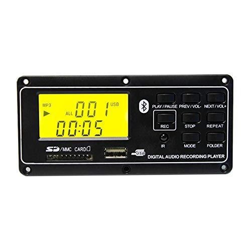 WOVELOT Dc12V Mp3 Bluetooth Decoder Board Módulo de Audio USB Aux FM Radio Control Remoto con Pantalla Digital Soporte Mp3 / USB/Función de Tarjeta