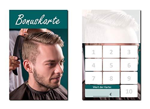 100 Stück Friseur Herren Bonuskarten (BOK-422) mit 10 Stempelfeldern. Treuekarten passend für Bereiche wie Frisör, Kosmetik, Haarpflege