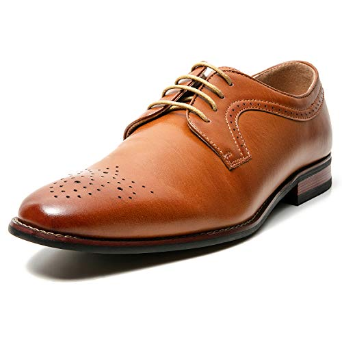 ZRIANG Mens Classic Brogue Dress Shoes Leather Lined Oxfords (7 M US, B-Tan10)