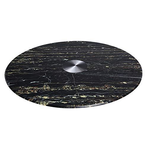 F draaistafel van gehard glas zwart marmer, eettafel rond voor huishotel, eettafel Lazy Susan, 10 mm dik, schokbestendig, corrosiebestendig, belastbaar