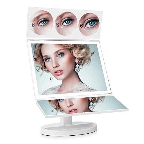 ASCINATE Large LED Lighted Makeup Mirror (X-Large Model), Trifold Vanity Mirror with 10X/5X/3X Magnification, Touch Screen, 360° Free Rotation, Double Power Supply, Countertop Cosmetic Mirror (White)