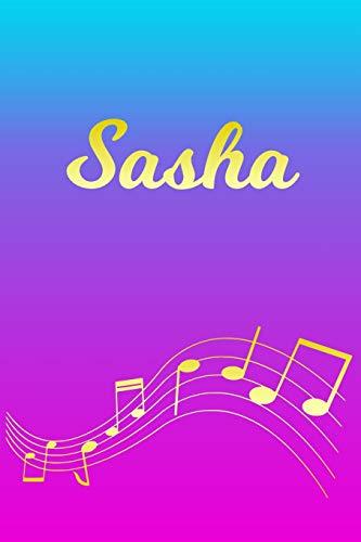 Sasha: Sheet Music Note Manuscript Notebook Paper – Pink Blue Gold Personalized Letter S Initial Custom First Name Cover – Musician Composer … Notepad Notation Guide – Compose Write Songs