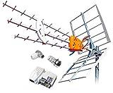 TELEVES Kit Antena Boss 790 HD con Filtro LTE Y PREVIO MRD Inteligente + Fuente DE ALIMENTACION 5795 Y Conectores