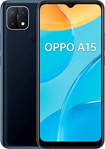 OPPO A15 - Smartphone 4G Débloqué - Téléphone Portable 32 Go - Triple Caméra avec IA - 13 MP - Longue Autonomie - USB-C - Prise Jack 3,5 mm - Android 10 - Smartphone Débloqué - Noir Dynamique