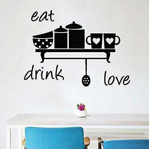 Tianpengyuanshuai Drinken Liefde Muurtattoo Keuken Decoratie Thuis Café Vinyl muursticker woonkamer Decoratie Kunst