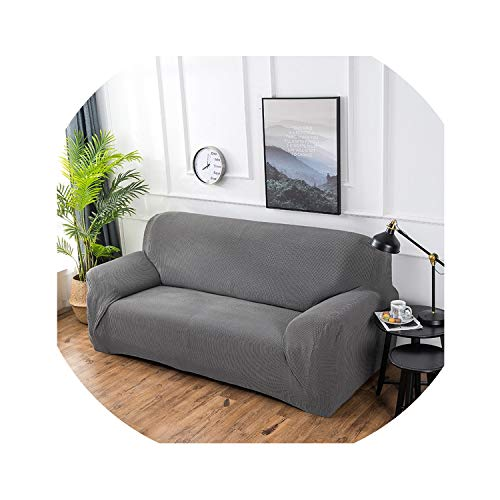 hotmoment-uk - Copridivano universale elastico per divano divano divano componibile in velluto con motivo a righe, grigio chiaro, 2 posti