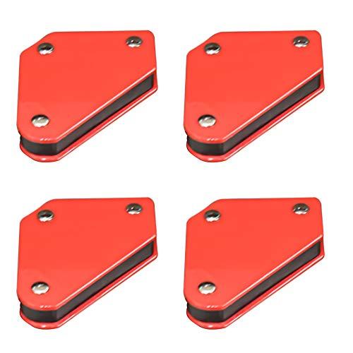 qipuneky 4pcs Imanes para soldar, Escuadras magnéticas para soldar, 45 °, 90 °, 135 °, fuerza 4 kg (rojo)