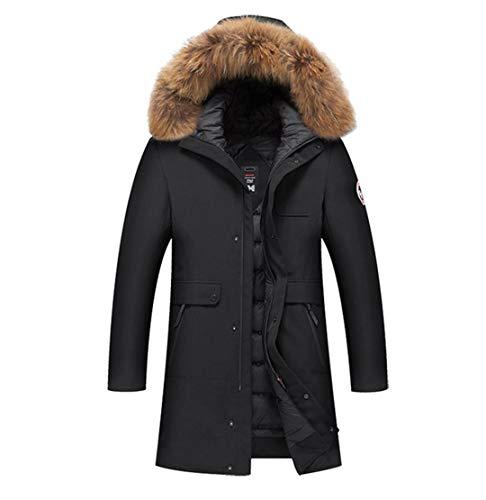 Man&Jenensy Winter-Version Thick Männer Warm Pelz Daunenjacke mit Kapuze Armband Reißverschluss-Tasche Down Jacket Black L