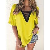 FSUYWQ Camisetas con Cuello en V para Mujer Tops Casual Suelto de Verano de Manga Corta Camisas Femeninas Tallas Grandes 5XL Amarillo
