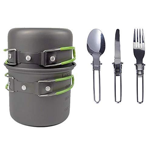 Cocina Set Camping Juego De Utensilios De Picnic Al Aire Libre Conjunto De Cook Set De Picnic Ultraligero Doblar Utensilios De Cocina Pan 1-2 Popular para Cocinar Verde