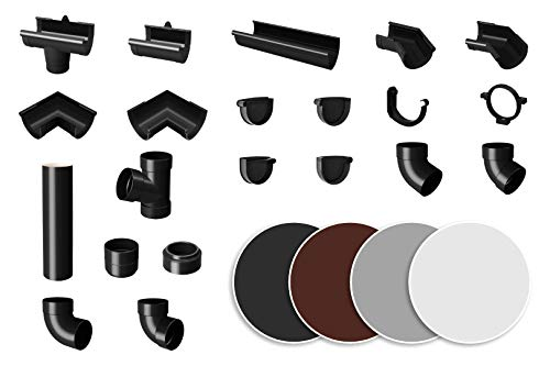Dachrinne anthrazit - PVC Kunststoff Regenrinnen in 4 modernen Farben, für Dachflächen bis 100m² empfohlen - RainWay90 Modellreihe