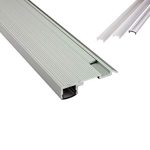 B-WARE - T-STA LED Alu Treppenprofil Treppenwinkel Profil Stufen silber + Abdeckung Abschlussleiste Fliesen für LED-Streifen-Strip 2m klar