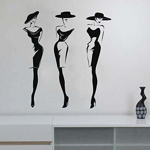 AQjept Calcomanías de Pared de Estilo de Moda Pegatinas de Ventana salón de Belleza Cara de Mujer Pegatinas de Pared Tienda de Ropa calcomanías de sombrero84x76cm