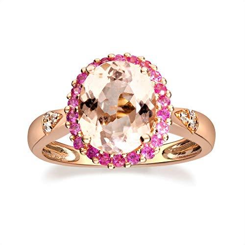 Gin & Grace Oro de 14K Rose 2ct. Natural cuadros Morganita y diamante (I1, I2) (tamaño 5) compromiso de la boda Proponer Promise Ring para la Mujer