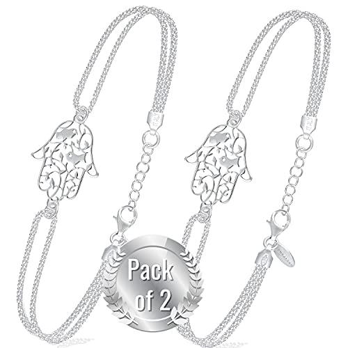 Pulseras Mujer Plata Mano de Fatima - Pulsera De Ley 925 de Moda con Una Caja | Regalos Originales para Mujeres Pulseras Plata Mujer Ulta Calidad | Joyeria Chica para Cumpleaños - Pack of 2