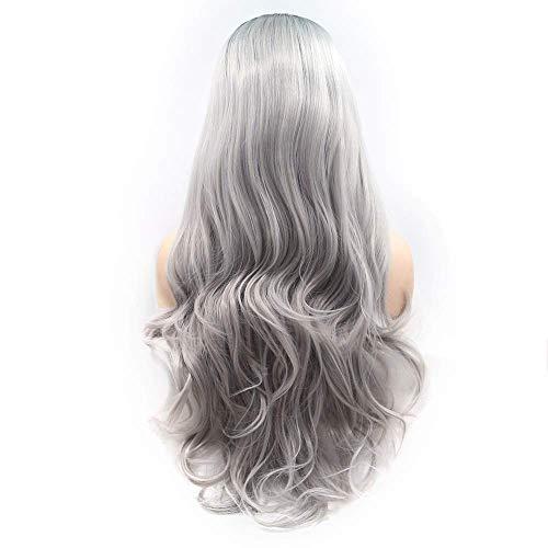 DZX Pelucas Naturales, Peluca Gris-púrpura Degradado Peluca de Pelo Largo y Rizado para Mujer Encaje Hecho a Mano Europeo y Conjunto de Peluca en Conjunto de Peluca