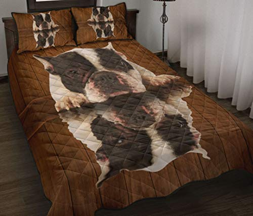 Frenchie Dog Shadow Quilt Bedding Set Gift Quilt King Queen Twin Throw Size Comfortable