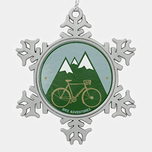 onepicebest Christmas Ornaments,Metal Snowflake Ornament Alpine Cold Mountain Bike Snowflake Pewter Christmas Ornament Xmas Gifts Presents, Holiday Tree Decoration Stocking Stuffer Gift