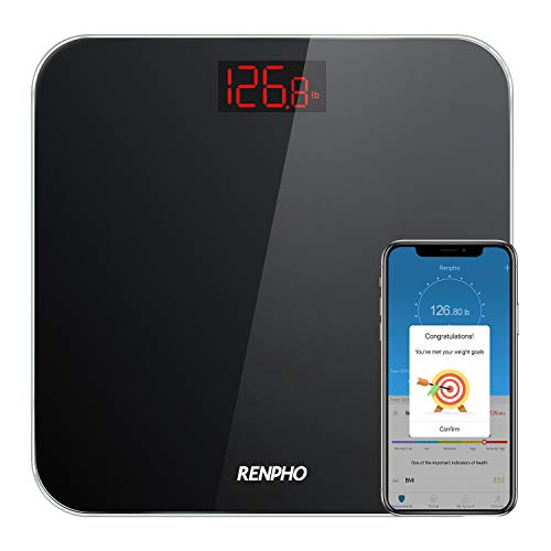 RENPHO Bluetooth Personenwaage mit BMI, Ultraschlanke Körperwaage Smart Digitale Waage mit Step-On Technologie, 5kg-180kg, Slim Design, mit Großem LCD-Display Schwarz