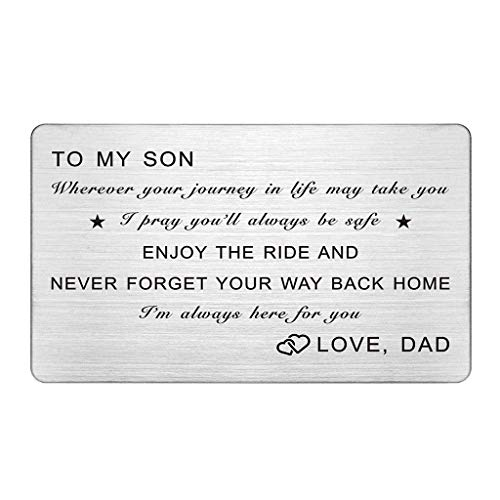 Metal Wallet Card for Son, I'm Always Here for You, To My Son Gifts from Dad, Engraved Wallet Inerts for Son, Christmas Gifts, Birthday Gifts for Teen Boys