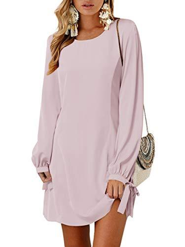 YOINS Langarm Blusenkleid Damen Kleider Tshirt Winterkleid für Damen Rundhals Minikleid Lose Tunika mit Bowknot Ärmeln
