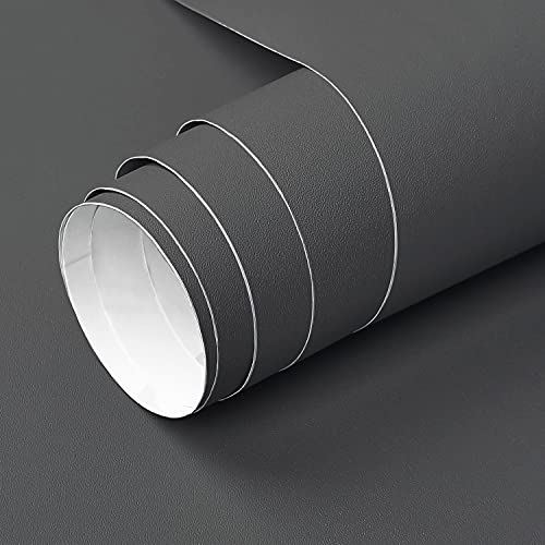 YXHZVON Vinilo Adhesivo Muebles Negro Mate, 40 x 500 cm Vinilo Negro Mate Muebles, Vinilos Decorativos de Pared para Muebles,Cocina, Baño,Impermeable Pegatina