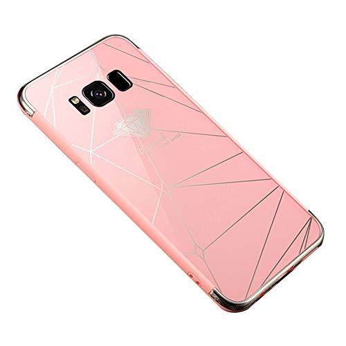 Ysimee Coque Samsung Galaxy S8, Effet Miroir Étui en PC Dur Housse de Protection Bord en Silicone Gel Antichoc Couleur Plaquée Ultra Mince et Léger Coque pour Samsung Galaxy S8,Diamant Rose