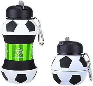 Vikka Sport Kids Water Bottle   Soccer Ball   Collapsible   BPA-Free   Soccer Gift idea for Boys   for Sports, Travel, Bike, School, 18 oz