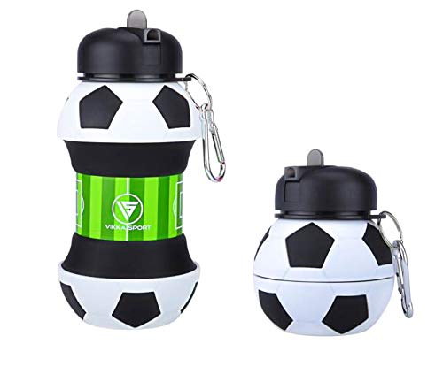 Vikka Sport Kids Water Bottle | Soccer Ball | Collapsible | BPA-Free | Soccer Gift idea for Boys | for Sports, Travel, Bike, School, 18 oz