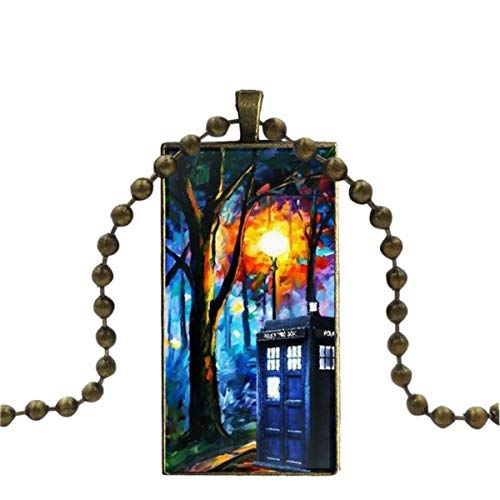 SYSFOUR For Women Gifts Boy Bronze Color Glass Cabochon With Rectangle Shaped Pendant Choker Necklace I Am Doctor Who Tardis
