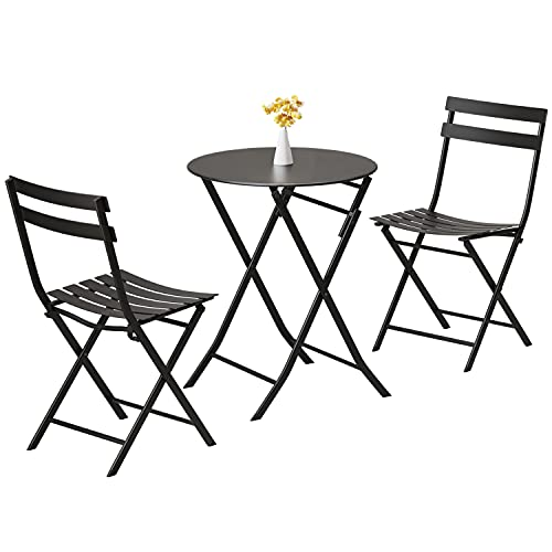 Patio Folding Bistro Set, Premium Steel Frame Coffee Table and Chairs, 3 Piece Indoor Outdoor Conversation Dining Set for Garden Balcony Yard (Black)